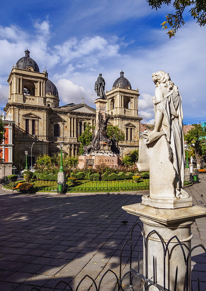 Plaza Murillo with Cathedral Basilica of Our Lady of Peace, La Paz, Bolivia, South America