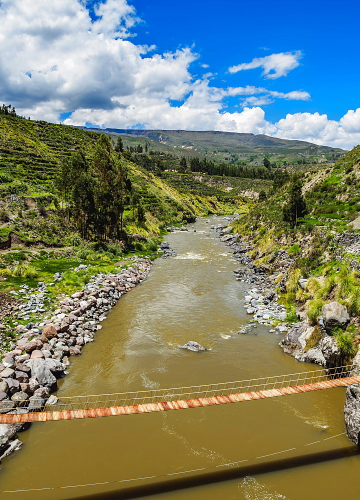 Suspension Bridge over Colca River, Chivay, Arequipa Region, Peru