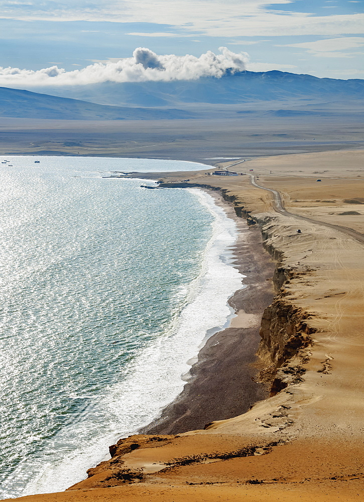Red Beach, elevated view, Paracas National Reserve, Ica Region, Peru, South America