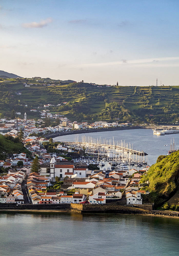 Horta seen from Monte da Guia, elevated view, Faial Island, Azores, Portugal