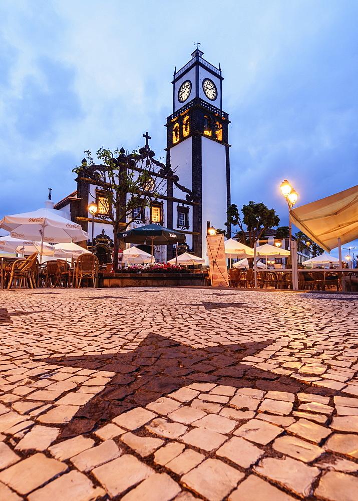 Main Church, twilight, Ponta Delgada, Sao Miguel Island, Azores, Portugal, Atlantic, Europe