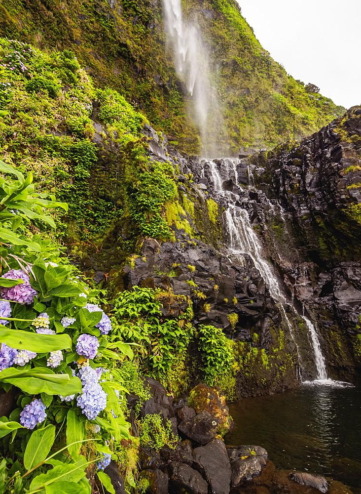 Poco do Bacalhau Waterfall, Faja Grande, Flores Island, Azores, Portugal, Atlantic, Europe