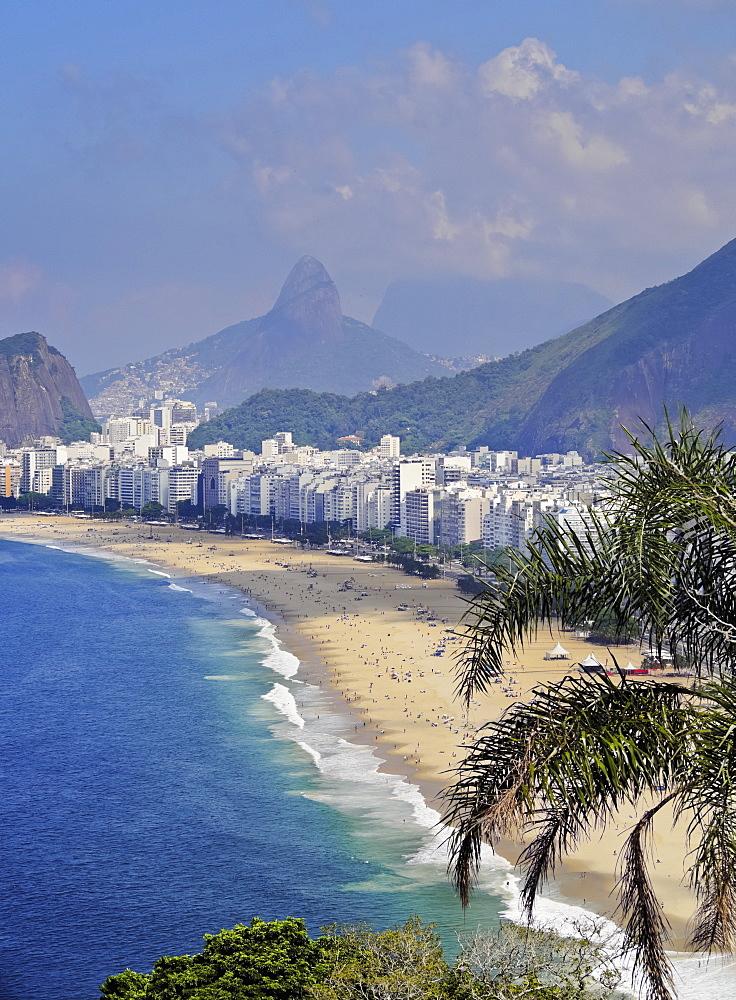 Copacabana Beach viewed from the Forte Duque de Caxias, Leme, Rio de Janeiro, Brazil, South America