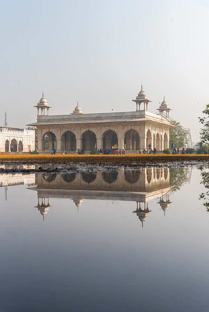 Reflections at The Red Fort, UNESCO World Heritage Site, Old Delhi, India, Asia