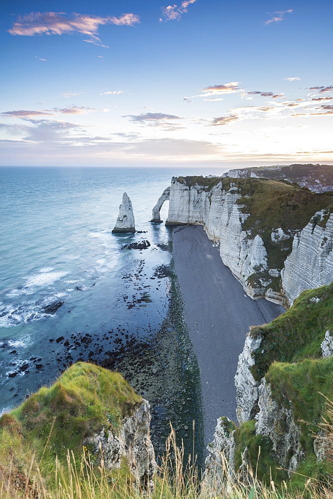 Dawn at the cliffs. Etretat, Normandy, France.