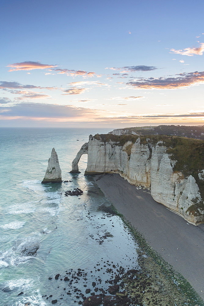 Dawn at the chalk cliffs, Etretat, Normandy, France, Europe
