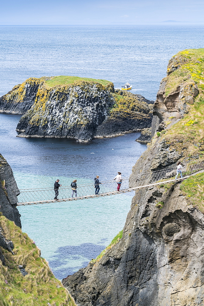 View of the Carrick a Rede Rope Bridge, Ballintoy, Ballycastle, County Antrim, Ulster, Northern Ireland, United Kingdom, Europe