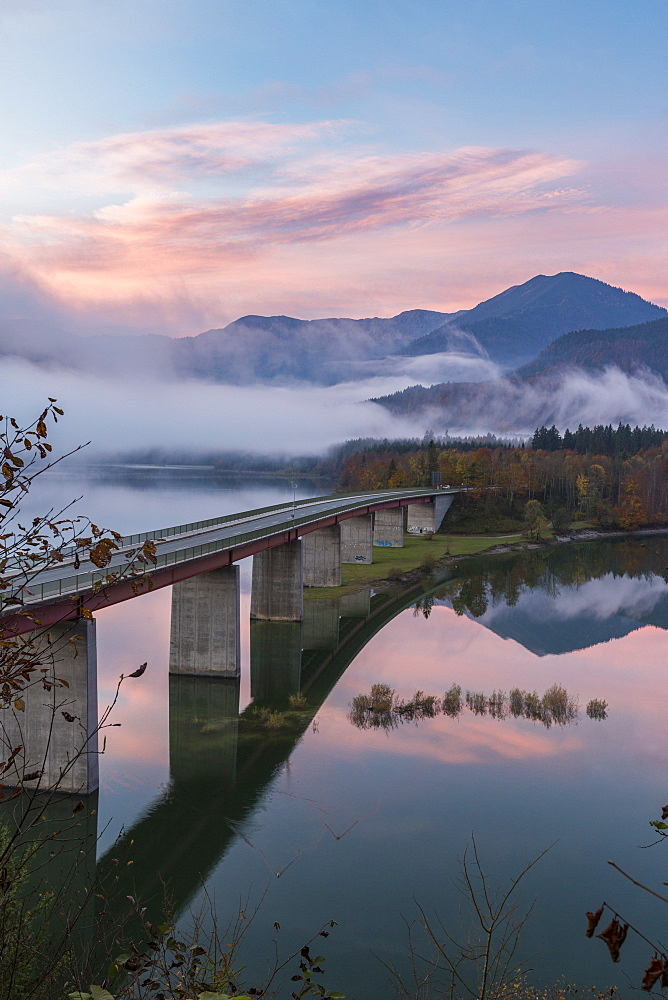 Sylvenstein Lake and bridge surrounded by the morning mist at dawn, Bad Tolz-Wolfratshausen district, Bavaria, Germany, Europe - 1251-403