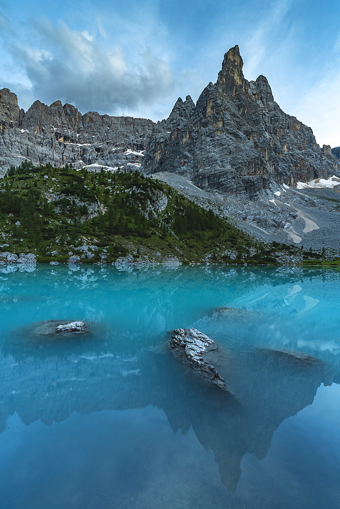 Sorapis mountain group above Lake Sorapis in Cortina d'Ampezzo, Italy, Europe - 1251-452