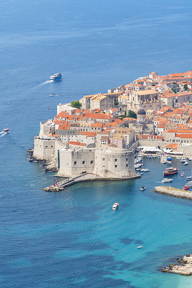 The town in summer from an elevated point of view. Dubrovnik, Dubrovnik - Neretva county, Croatia.
