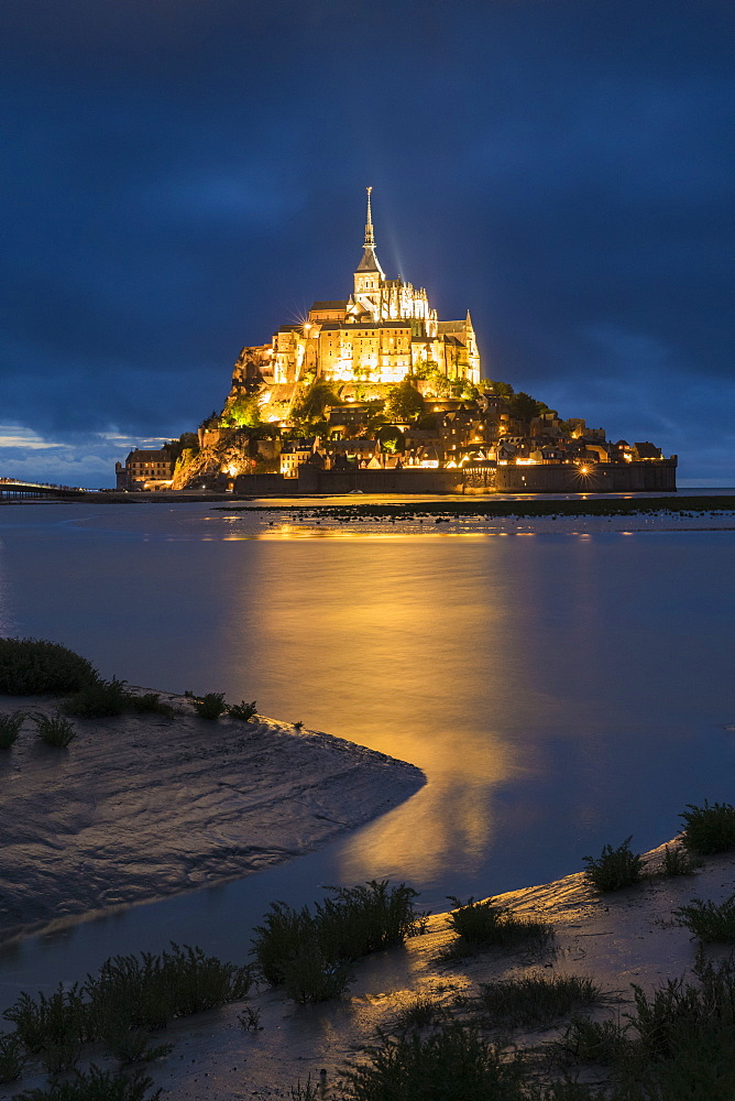 Cloudy sky at dusk, Mont-St-Michel, UNESCO World Heritage Site, Normandy, France, Europe