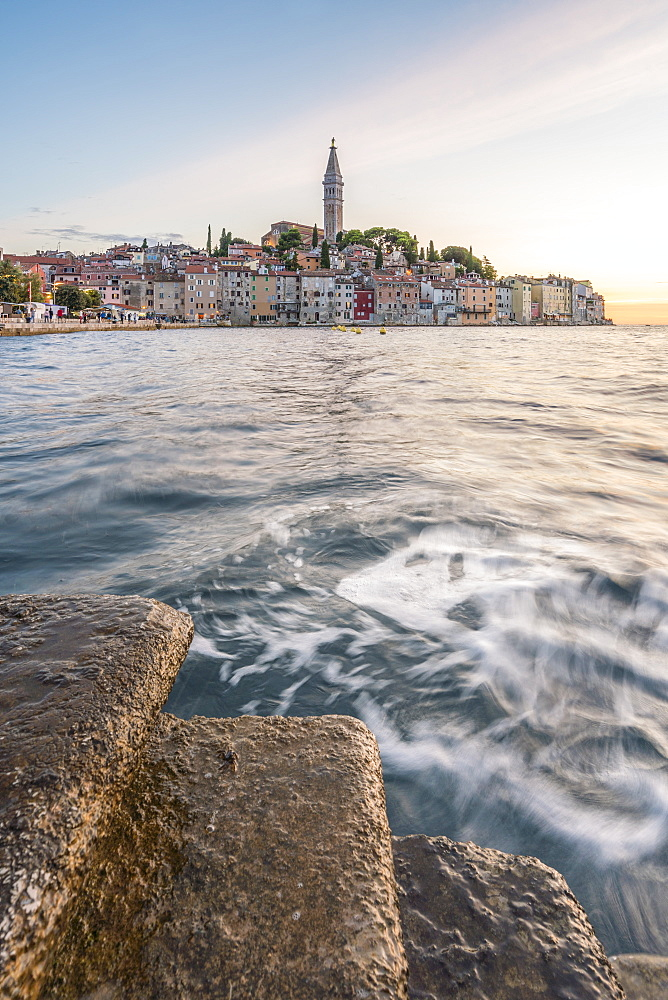 The old town at sunset, in summer, with stone steps in the foreground, Rovinj, Istria county, Croatia, Europe - 1251-521