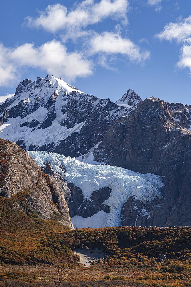 Piedras Blancas glacier in autumn. El Chalten, Santa Cruz province, Argentina.