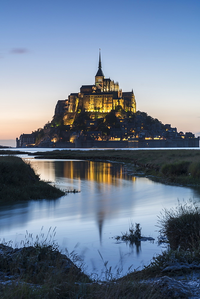 Tide growing at dusk, Mont-Saint-Michel, UNESCO World Heritage Site, Normandy, France, Europe