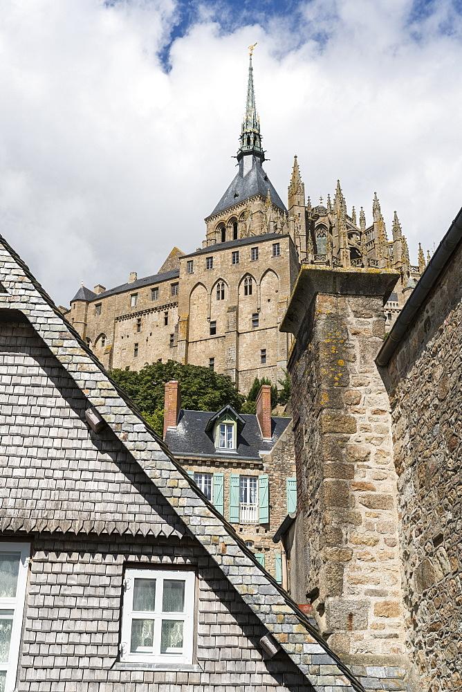View of Mont Saint-Michel abbey from below. Mont-Saint-Michel, Normandy, France.