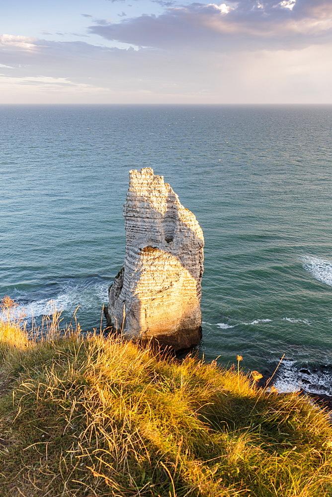 Pinnacle in the ocean. Etretat, Normandy, France.
