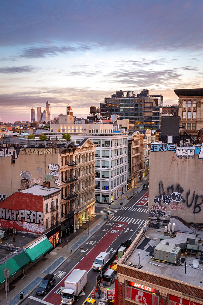 Sunrise over the Soho district of New York City looking towards the development of Hudson Yards skyscrapers, New York, United States of America, North America - 1263-140