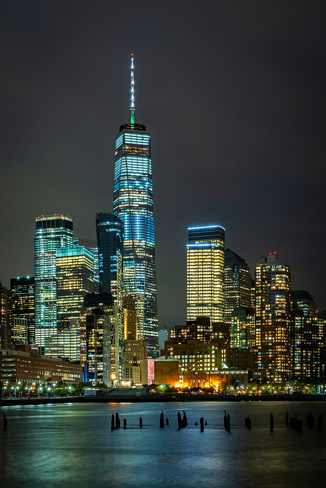 A long exposure of the lights of Lower Manhattan during the evening blue hour, New York, United States of America, North America
