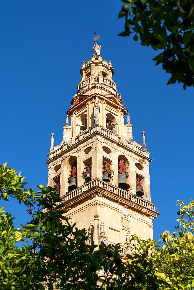 The Bell Tower (Torre de Alminar) of Mezquita de Cordoba / Cordoba Mosque Cathedral. Cordova, Andalusia, Spain.
