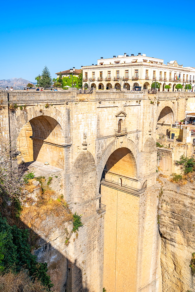 Puente Nuevo, New Bridge, is the tallest of the three bridges in Ronda crossing the Guadalevín River. Andalusia, Spain - 1263-260