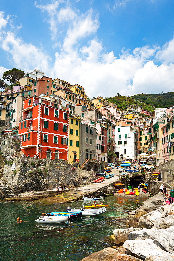 The colourful buildings and boats in Riomaggiore harbour, Cinque Terre, Liguria, Italy