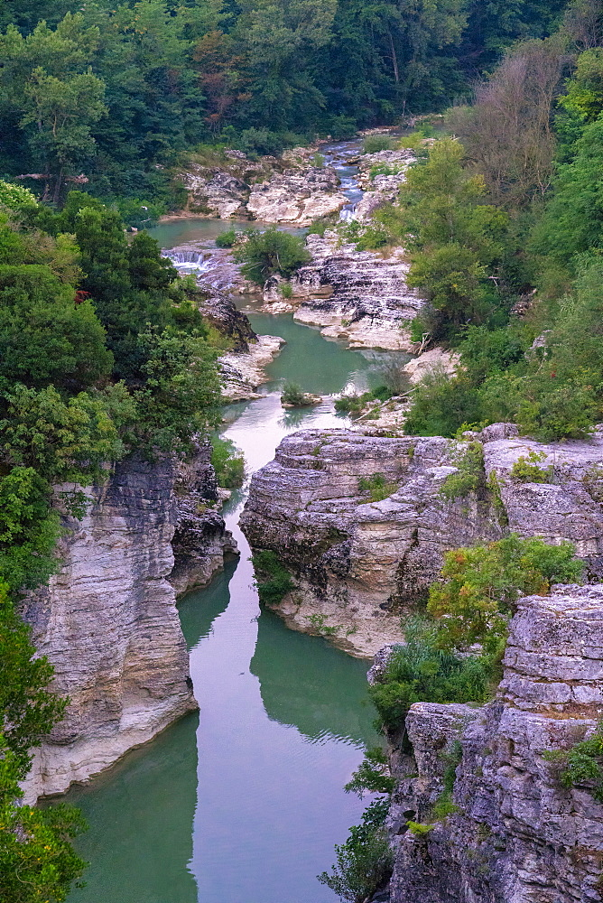 Marmitte dei Giganti canyon on the Metauro River, Fossombrone, Marche, Italy, Europe