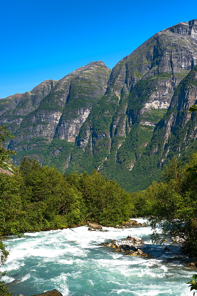 River through the mountains near Briksdals Glacier, Fjordane county, Norway. - 1267-222
