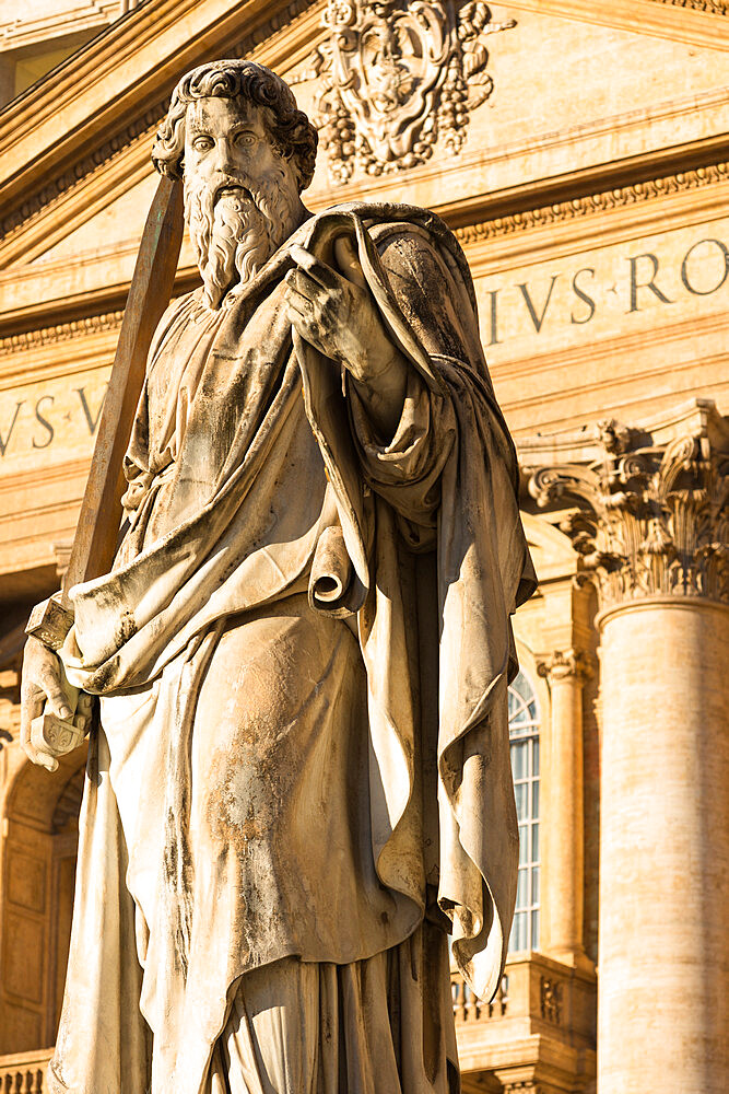 Prominent statue of St. Paul in front of St. Peter's Basilica, Vatican City, Rome, Lazio, Italy, Europe