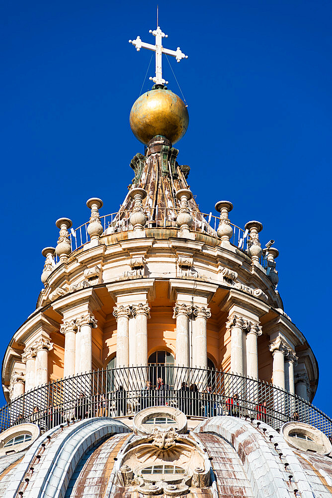 The very top of St. Peter's Basilica Cupola, Vatican, Rome, Lazio, Italy, Europe - 1267-265