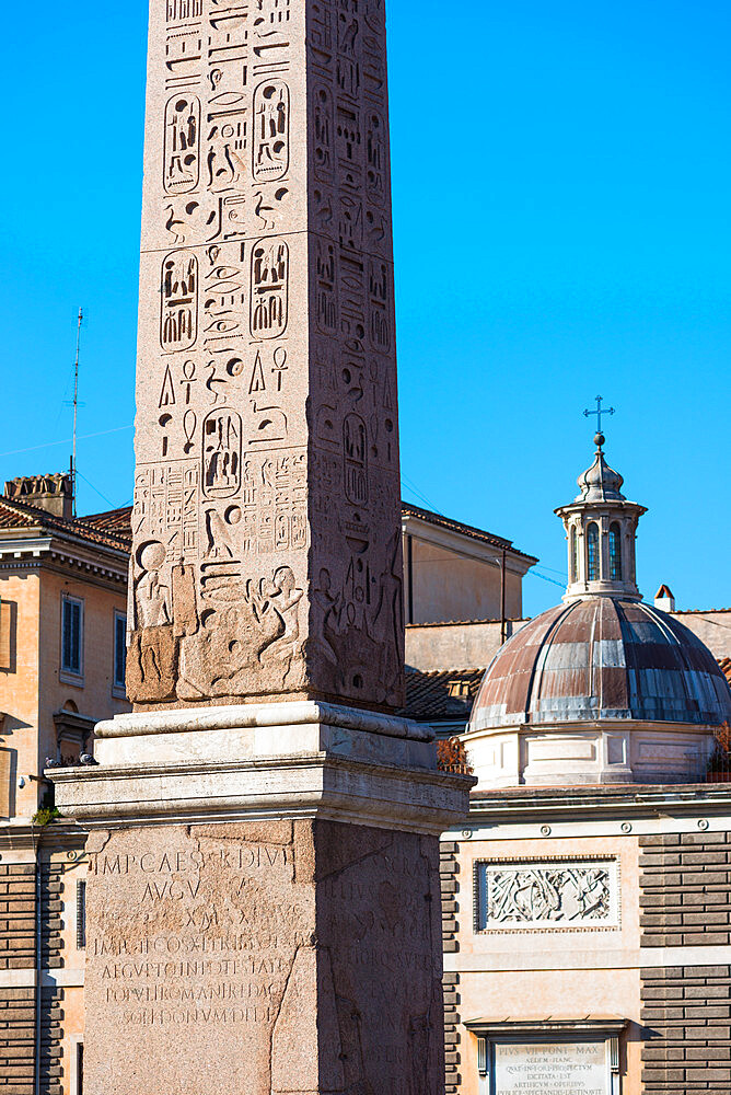 Egyptian obelisk or stone needle monument at the Piazza del Popolo (People Square), Rome, Lazio, Italy, Europe