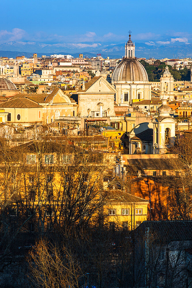 Historic Rome city skyline with domes and spires seen from Janiculum Terrace, Rome, Lazio, Italy, Europe - 1267-286