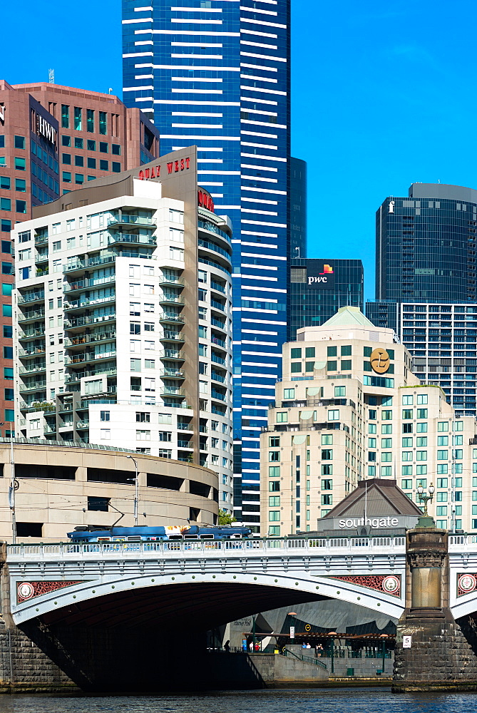 Melbourne city commercial and banking district, with Princes Bridge, Melbourne, Victoria, Australia, Pacific