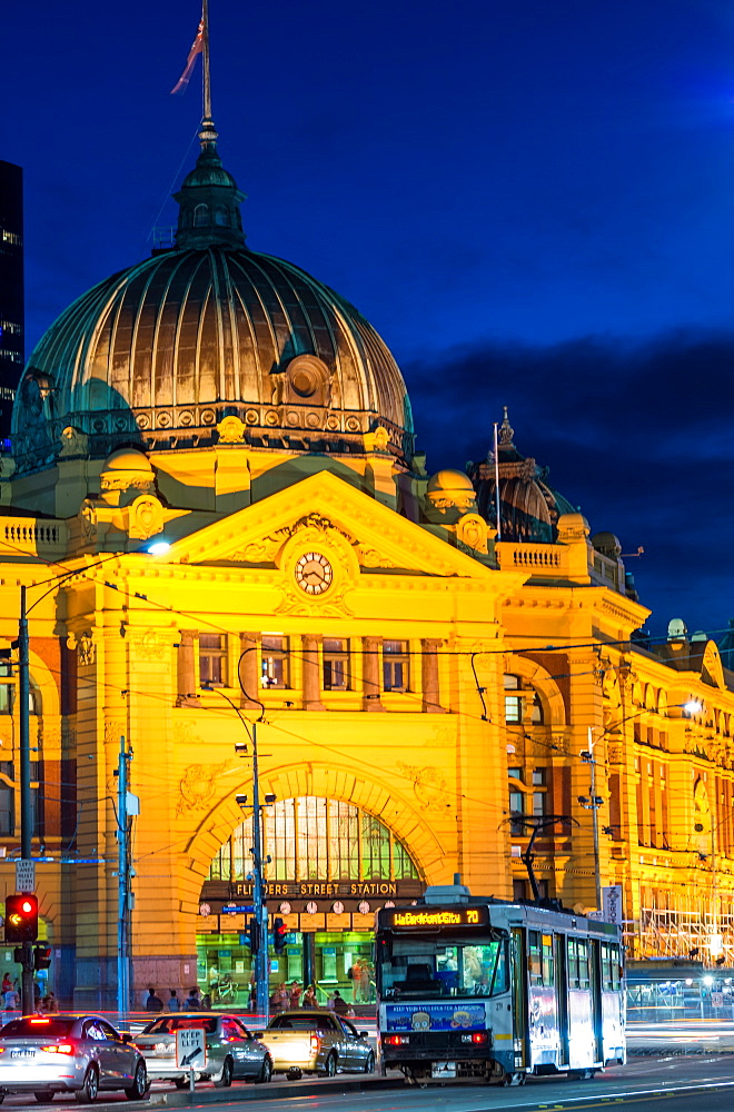 Flinders Street station at night, Melbourne, Victoria, Australia, Pacific