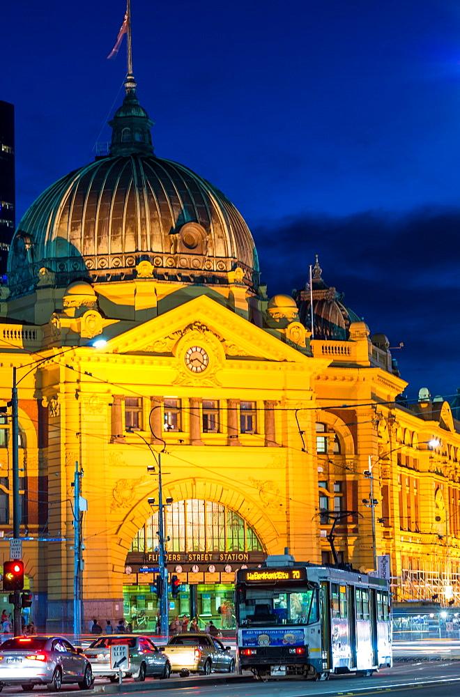 Flinders Street station at night, Melbourne, Victoria, Australia, Pacific