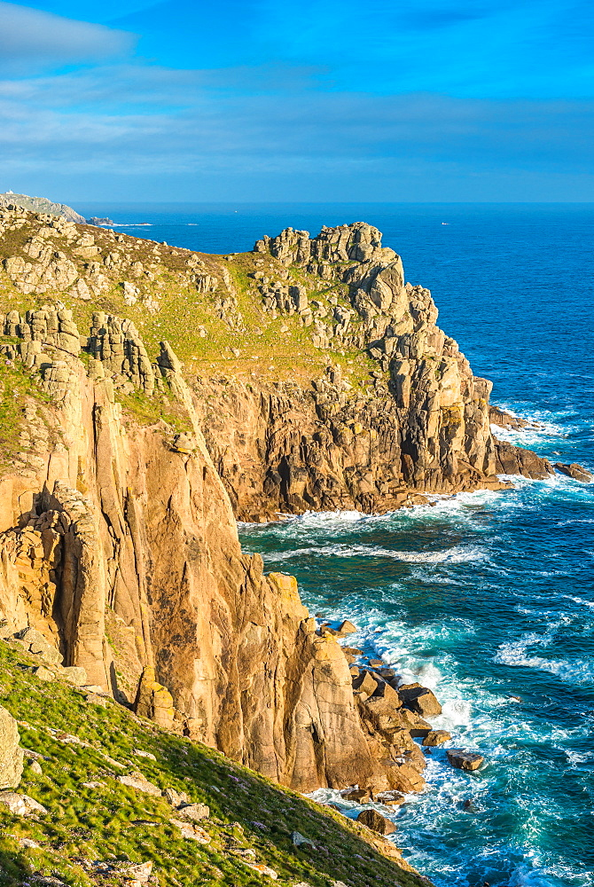 Zawn Trevilley and Carn Boel at Lands End on the tip of Cornwall, England, UK.