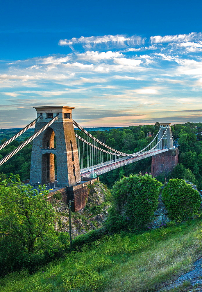 Historic Clifton Suspension Bridge by Isambard Kingdom Brunel spans the Avon Gorge with River Avon below, Bristol, England, United Kingdom, Europe - 1267-520
