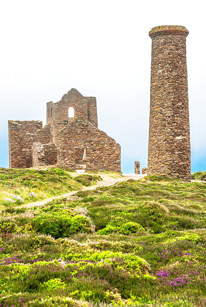 Wheal Coates Tin Mine on a foggy day, UNESCO World Heritage Site, on the Cornish coast near St. Agnes, Cornwall, England, United Kingdom, Europe