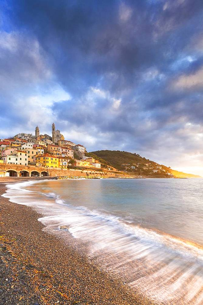 Sunrise on the beach of Cervo, Imperia province, Liguria, Italy, Europe. - 1269-124