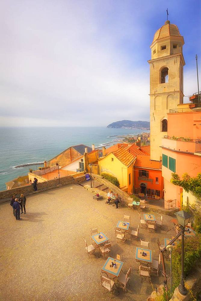 Main square with the tower bell of Cervo, Imperia province, Liguria, Italy, Europe.