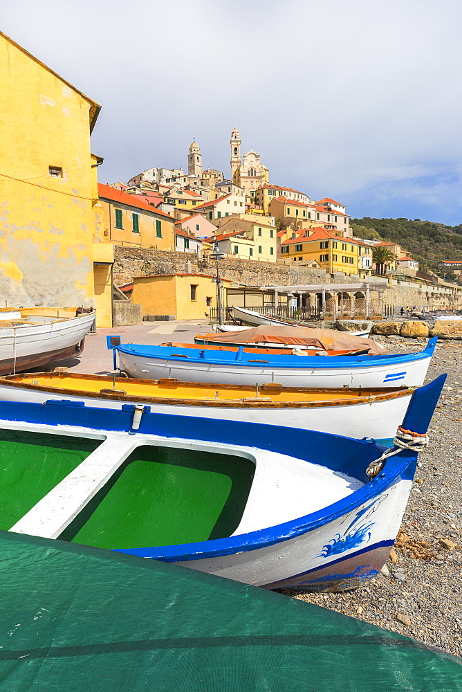 Colourful boats on the beach of Cervo, Imperia province, Liguria, Italy, Europe. - 1269-127