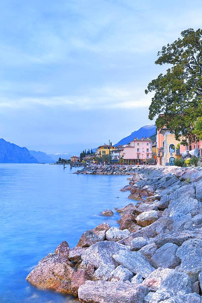 Soft lights at dusk at the village of Macugnano, Brenzone sul Garda, Garda Lake, Verona province, Veneto, Italy, Europe. - 1269-140