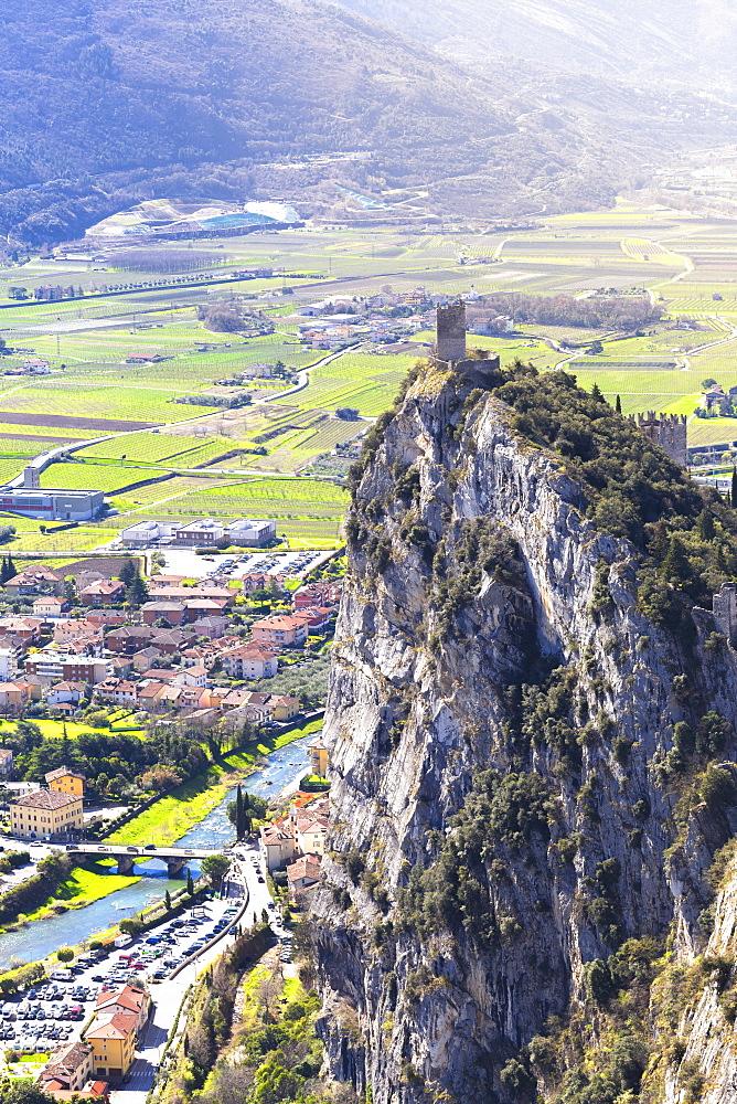 Castle of Arco from Mount Colodri, Arco di Trento, Trento Province, Trentino-Alto Adige, Italy, Europe - 1269-145