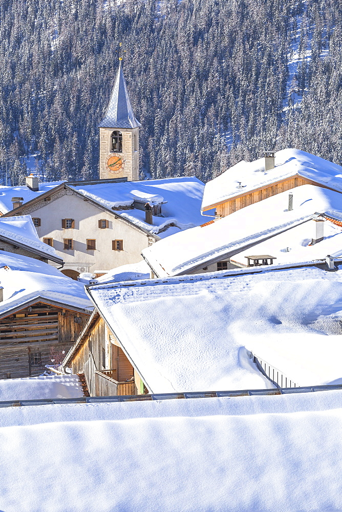 Village of Latsch after a snowfall. Bergun,Albula Valley, District of Prattigau/Davos,Canton of Graubünden, Switzerland, Europe. - 1269-156