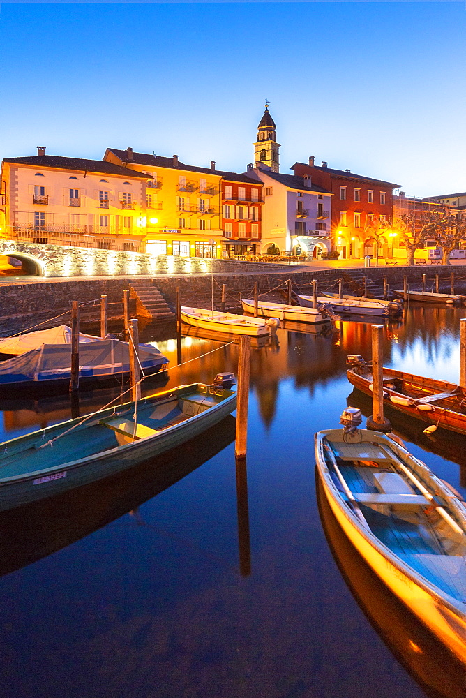 Touristic harbour of Ascona at dusk. Ascona, Lake Maggiore(Verbano), Canton of Ticino, Switzerland, Europe. - 1269-164