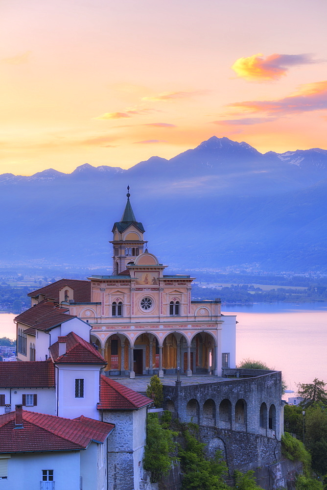 Sunrise at the Sanctuary of Madonna del Sasso, Orselina, Locarno, Lake Maggiore, Canton of Ticino, Switzerland, Europe