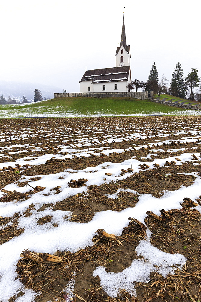 Fields ploughed in front of the church, Versam, Safiental, Surselva, Graubunden, Switzerland, Europe - 1269-31