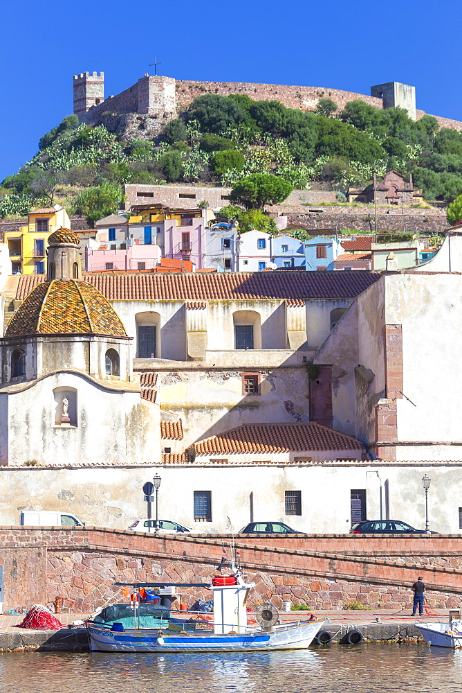Village of Bosa with Serravalle castle(Castle of Malaspina). Bosa, Oristano province, Sardinia, Italy, Europe.
