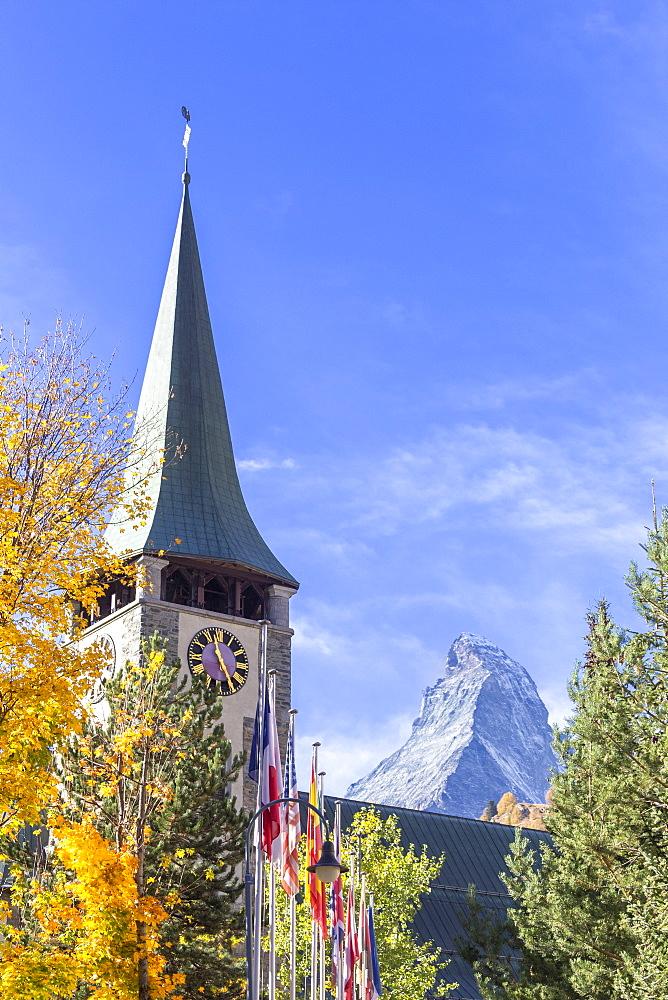 Church by Matterhorn in Zermatt, Switzerland, Europe