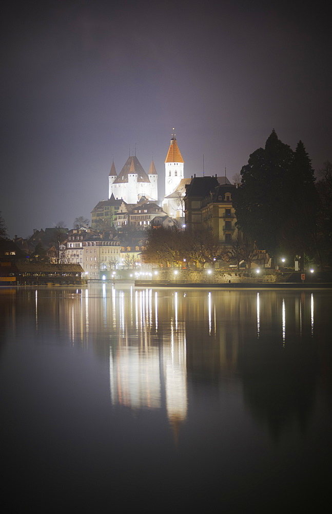 City of Thun at night, Canton of Bern, Switzerland, Europe