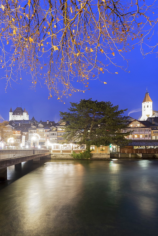 Historical center at dusk. Thun, Canton of Bern, Switzerland, Europe.